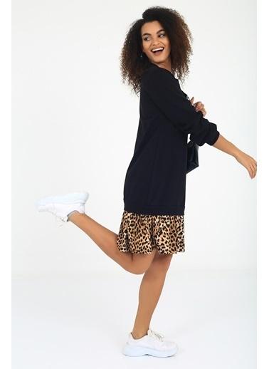 Emjey Özel Tasarım Siyah Sweatshirt Elbise Kahve
